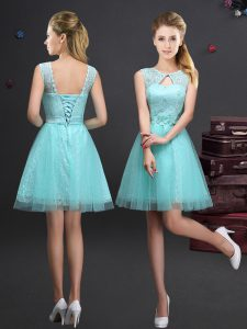 Graceful Mini Length Aqua Blue Quinceanera Court Dresses Scoop Sleeveless Lace Up