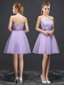 Sweet Lavender Sleeveless Lace and Belt Mini Length Vestidos de Damas