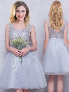 Traditional Scoop Sleeveless Zipper Quinceanera Dama Dress Grey Tulle