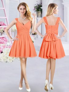 Mini Length Zipper Vestidos de Damas Orange for Prom and Party and Wedding Party with Ruching and Belt