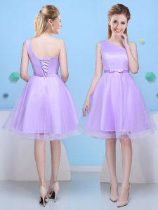 Most Popular One Shoulder Sleeveless Damas Dress Knee Length Bowknot Lavender Tulle