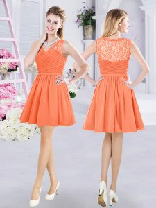 Lace and Ruching Quinceanera Court of Honor Dress Orange Side Zipper Sleeveless Mini Length
