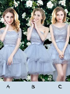 Mini Length Grey Court Dresses for Sweet 16 Off The Shoulder Sleeveless Lace Up