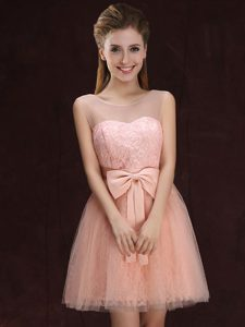 Charming Peach Scoop Neckline Lace and Bowknot Dama Dress for Quinceanera Sleeveless Lace Up