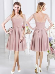 Ideal Scoop Chiffon Half Sleeves Knee Length Bridesmaid Dress and Lace and Ruching