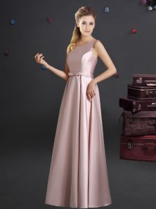 One Shoulder Pink Sleeveless Elastic Woven Satin Zipper Bridesmaids Dress for Prom and Party and Wedding Party