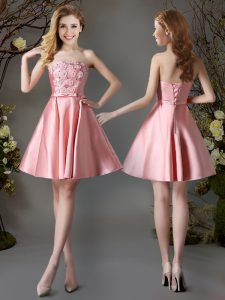 Pink Strapless Lace Up Appliques and Bowknot Wedding Guest Dresses Sleeveless