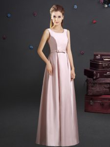 Pink Zipper Square Bowknot Dama Dress for Quinceanera Elastic Woven Satin Sleeveless