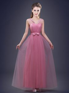 Top Selling Tulle Sleeveless Floor Length Vestidos de Damas and Appliques and Ruching and Bowknot