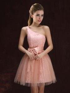 Luxurious One Shoulder Sleeveless Tulle and Lace Quinceanera Dama Dress Lace and Bowknot Lace Up