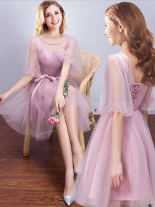 Pink Lace Up Scoop Ruching and Bowknot Quinceanera Dama Dress Tulle Half Sleeves