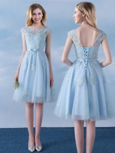 Gorgeous Light Blue Empire Scoop Cap Sleeves Tulle Knee Length Lace Up Appliques and Belt Quinceanera Court of Honor Dre