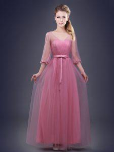 Pink Lace Up Dama Dress Ruching and Bowknot Half Sleeves Floor Length