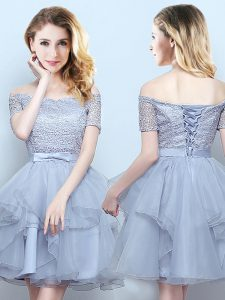Superior Off the Shoulder Short Sleeves Mini Length Lace and Ruffles and Belt Lace Up Wedding Party Dress with Grey
