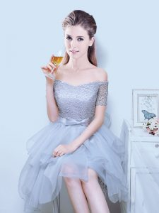 Top Selling Organza Off The Shoulder Short Sleeves Lace Up Lace and Ruffles and Bowknot Wedding Guest Dresses in Grey