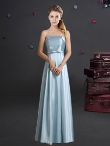 Cute Strapless Sleeveless Elastic Woven Satin Bridesmaids Dress Bowknot Zipper