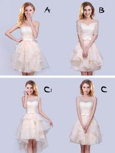 Lovely Champagne Lace Up Quinceanera Court Dresses Lace and Ruffles and Belt Sleeveless Mini Length
