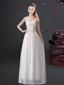 White Sleeveless Chiffon Zipper Damas Dress for Prom and Party and Wedding Party