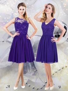 Discount Scoop See Through Sleeveless Knee Length Lace and Appliques Zipper Dama Dress with Purple