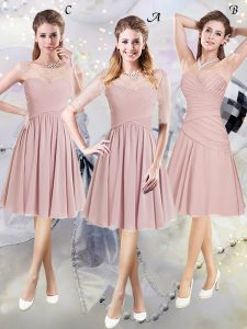 High End Scoop Pink Half Sleeves Lace and Ruching Knee Length Damas Dress