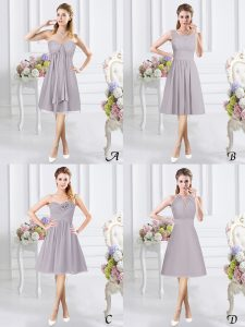 Grey Side Zipper Bridesmaids Dress Lace and Ruching and Hand Made Flower Sleeveless Knee Length