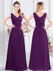 Noble Purple Quinceanera Court of Honor Dress Prom and Party and Wedding Party and For with Ruching V-neck Sleeveless Zi