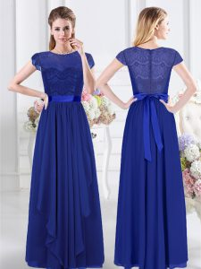 Cute Scoop Lace and Belt Quinceanera Dama Dress Royal Blue Zipper Short Sleeves Floor Length