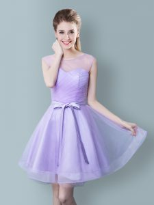 Scoop Tulle Sleeveless Knee Length Court Dresses for Sweet 16 and Ruching and Bowknot