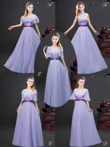 Lavender Off The Shoulder Zipper Ruffled Layers and Ruching and Belt Bridesmaid Gown Sleeveless