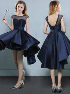 Navy Blue A-line Satin Bateau Cap Sleeves Appliques High Low Lace Up Wedding Party Dress