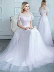 Glittering Scoop White Vestidos de Damas Tulle Sweep Train Short Sleeves Lace and Belt