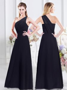 One Shoulder Navy Blue Sleeveless Ruching Floor Length Bridesmaid Dresses