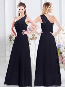 One Shoulder Navy Blue Sleeveless Ruching Floor Length Bridesmaid Dresses