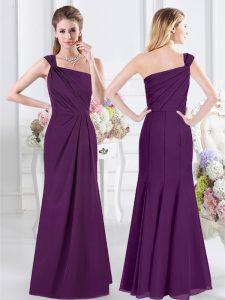 One Shoulder Floor Length Column/Sheath Sleeveless Purple Quinceanera Court Dresses Side Zipper