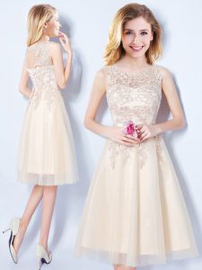 High Quality Scoop Champagne A-line Appliques Bridesmaid Dress Lace Up Tulle Sleeveless Knee Length