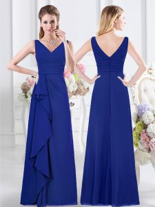 Cheap Ruffles and Ruching Damas Dress Royal Blue Zipper Sleeveless Floor Length
