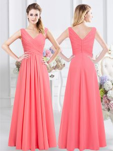 Superior Floor Length Watermelon Red Vestidos de Damas Sleeveless Zipper