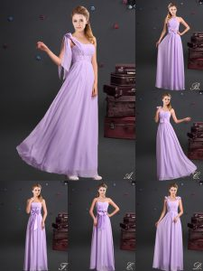One Shoulder Lavender Empire Ruching and Bowknot and Hand Made Flower Quinceanera Court of Honor Dress Zipper Chiffon Sl