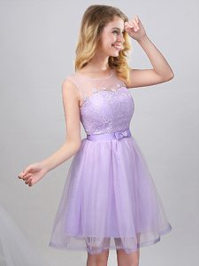 Scoop Sleeveless Damas Dress Mini Length Lace and Appliques and Belt Lavender Tulle