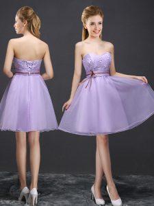 Beauteous Sweetheart Sleeveless Lace Up Bridesmaid Dress Lavender Organza