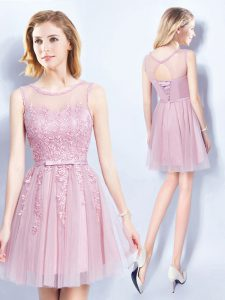 Exquisite Scoop Pink Sleeveless Appliques and Belt Mini Length Quinceanera Court of Honor Dress