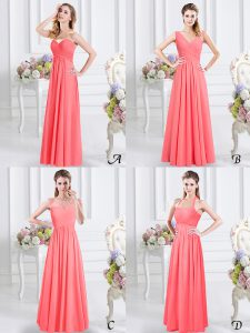 Edgy Watermelon Red Zipper Sweetheart Lace and Ruching Vestidos de Damas Chiffon Sleeveless