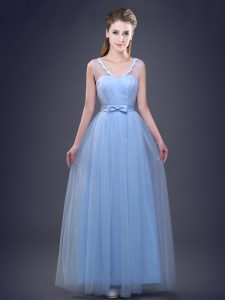 Dynamic Appliques and Ruching and Bowknot Quinceanera Court Dresses Light Blue Lace Up Sleeveless Floor Length