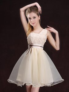 One Shoulder Sleeveless Organza Mini Length Lace Up Quinceanera Dama Dress in Champagne with Appliques and Belt
