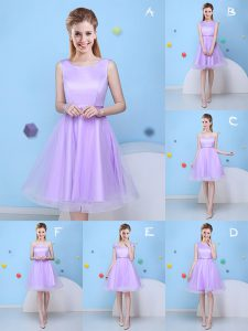 Decent Scoop Lavender Lace Up Quinceanera Dama Dress Bowknot Sleeveless Knee Length