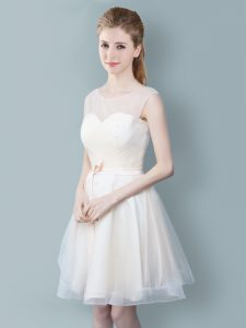 Superior Champagne Scoop Zipper Ruching and Bowknot Wedding Party Dress Sleeveless