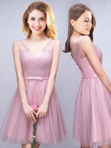 High Class Sleeveless Mini Length Ruching and Bowknot Lace Up Bridesmaids Dress with Pink