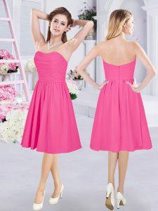 High Class Hot Pink Chiffon Zipper Quinceanera Court Dresses Sleeveless Knee Length Ruching