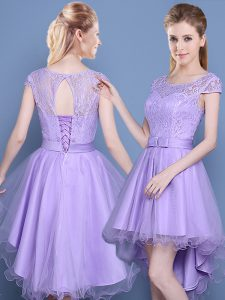 Low Price A-line Dama Dress Lavender Scoop Tulle Cap Sleeves High Low Lace Up