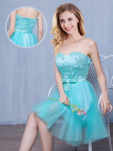 Perfect Tulle Sleeveless Knee Length Bridesmaid Dresses and Lace and Appliques and Bowknot